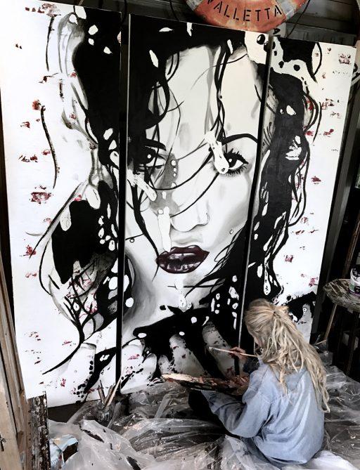 Fierce large canvas painting Montana Engels