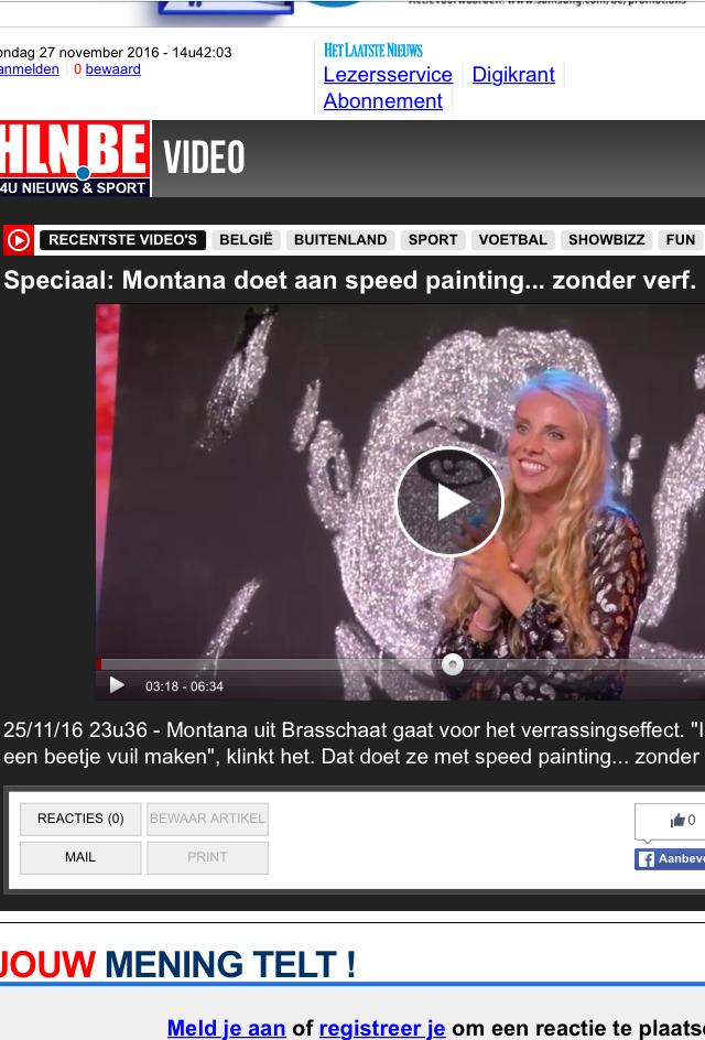 hln het laatste nieuws montana engels speed painting Belgium