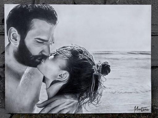 Montana Engels artist drawing beachside couple gift art