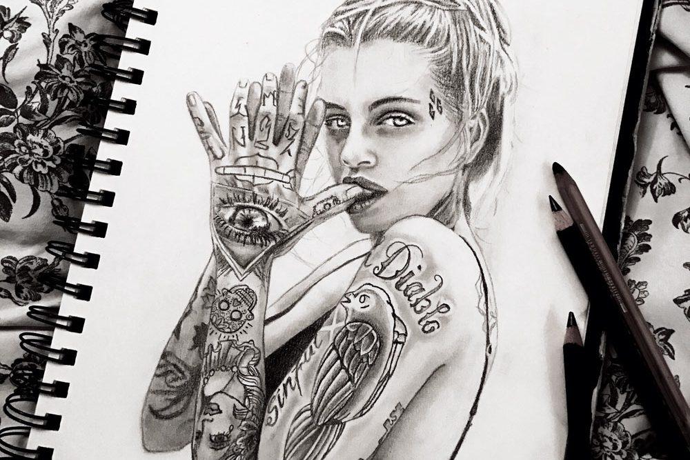 Montana Engels artist drawing-portrait Courtney Lloyd do real