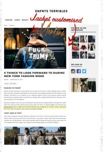 Enfnts Terribles - Style fuck trump New York Fashion Week news Montana Engels painting