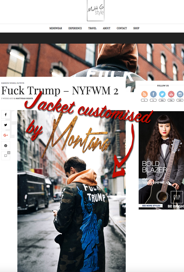 MattG style fuck trump New York Fashion Week news Montana Engels painting