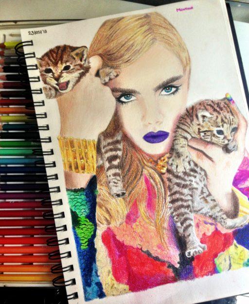 Montana Engels artist drawing Cara delevigne