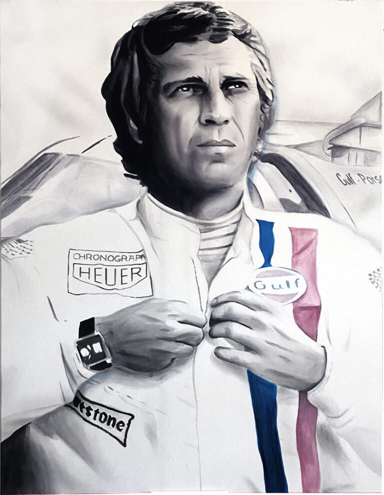 Montana Engels painting Art for Charity Steve-Mcqueen-FINAL